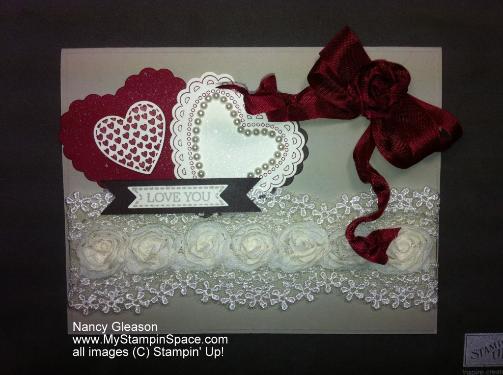 Valentine's Day, hearts, roses, double bow, order Stampin Up, Stampin Up products, lace, Hearts a Flutter, Nancy Gleason