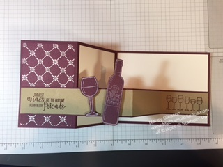 "Double Z fold card by Nancy Gleason My Stampin Space featuring the ""Half Full"" wine themed stamp set"