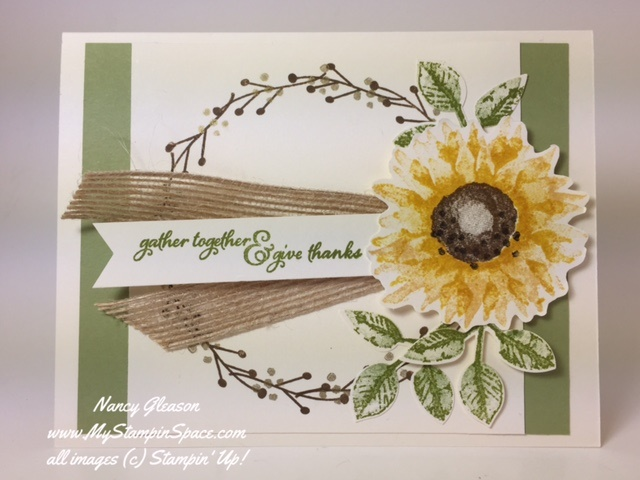 Thanksgiving Card using a fall flower and stem & berry wreath using the Painted Harvest stamp set from Stampin Up for the Pals Blog Hop by Nancy Gleason My Stampin Space