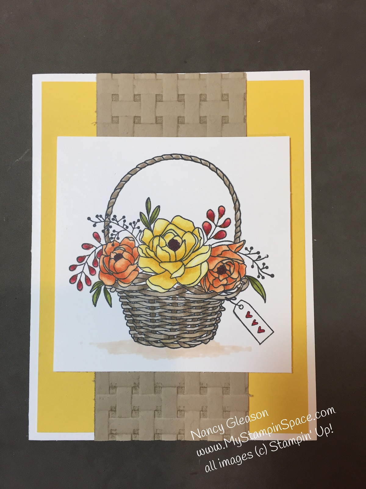Blossoming Basket stamp set colored with Stampin' Blends