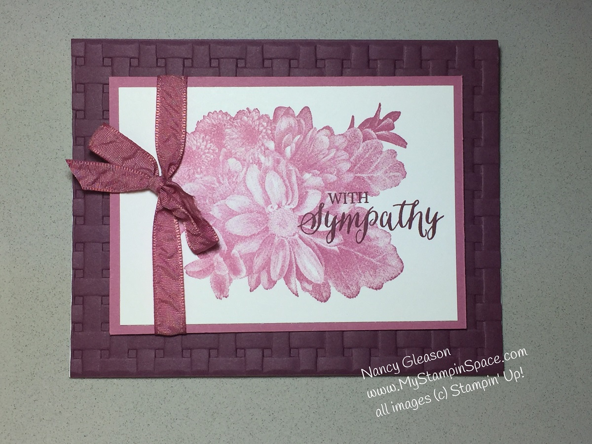 "a sympathy card using a set called ""Heartfelt Blooms"""