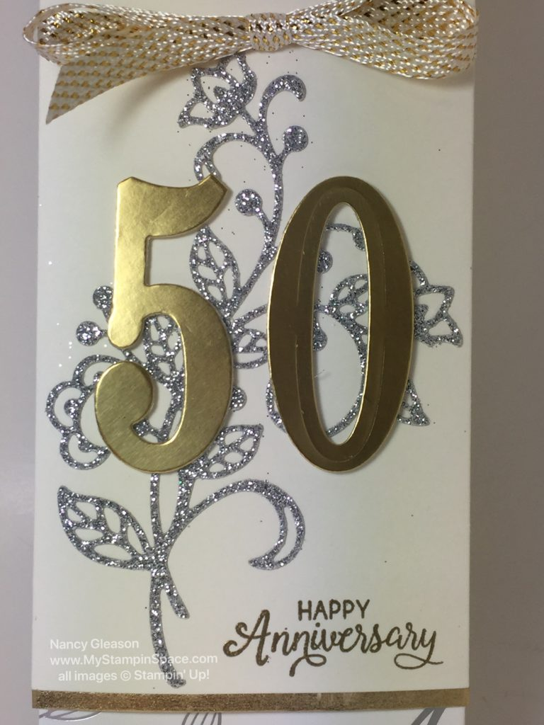 a gift card holder created for a 50th Wedding Anniversary by Nancy Gleason of My Stampin Space