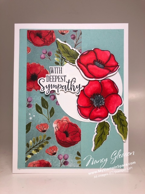 a card designed by Nancy Gleason of My StampinSpace using the Painted Poppies and Peaceful Moments stamp sets and the Peaceful Poppies DSP