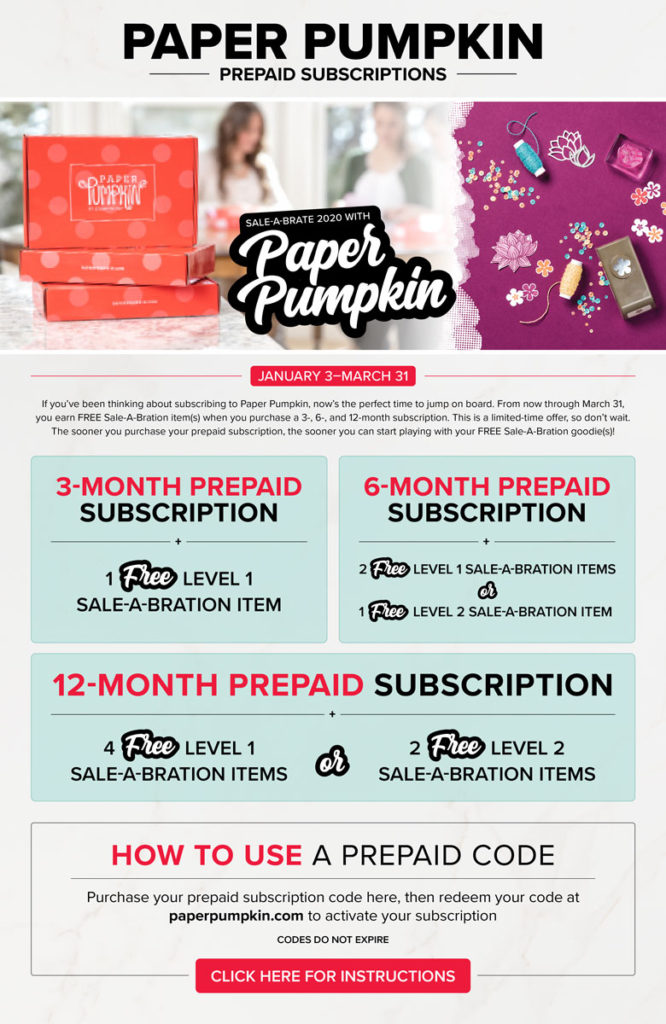 Shop Prepaid Paper Pumpkin Subscriptions to earn FREE Sale-A-Bration items