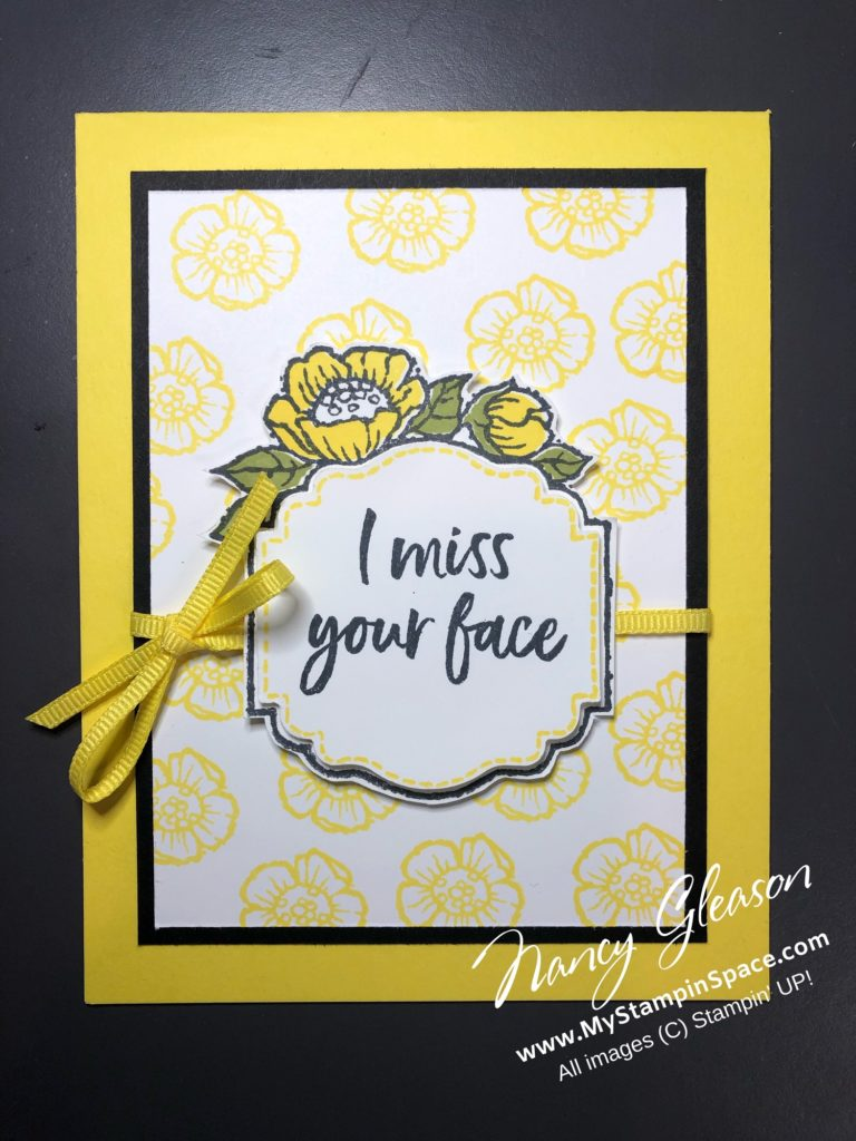 I Miss Your Face from the Tags in Bloom stamp set, free with a qualifying purchase during Sale-A-Bration
