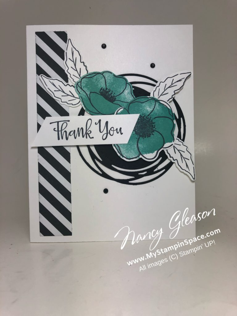 a simple Thank You Card made with the Peaceful Moments and Painted Poppies stamp set and the Painted Labels and Poppy Moments dies.
