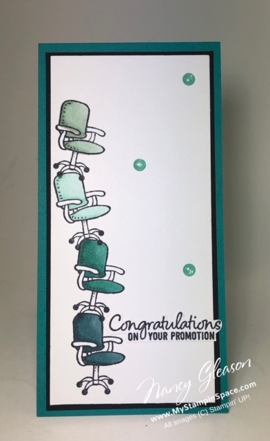 All Stacked Up for a Promotion -a tall and skinny card by Nancy Gleason for the Paper Players Challenge #460