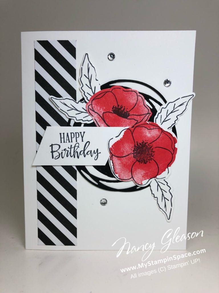 Painted Poppies B&W Birthday