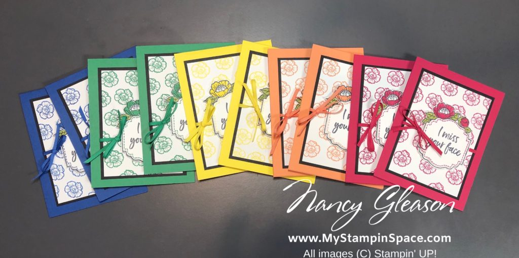 2018-2020 In Colors make a rainbow of cards using the Tags in Bloom stamp set and I Miss Your Face sentiment