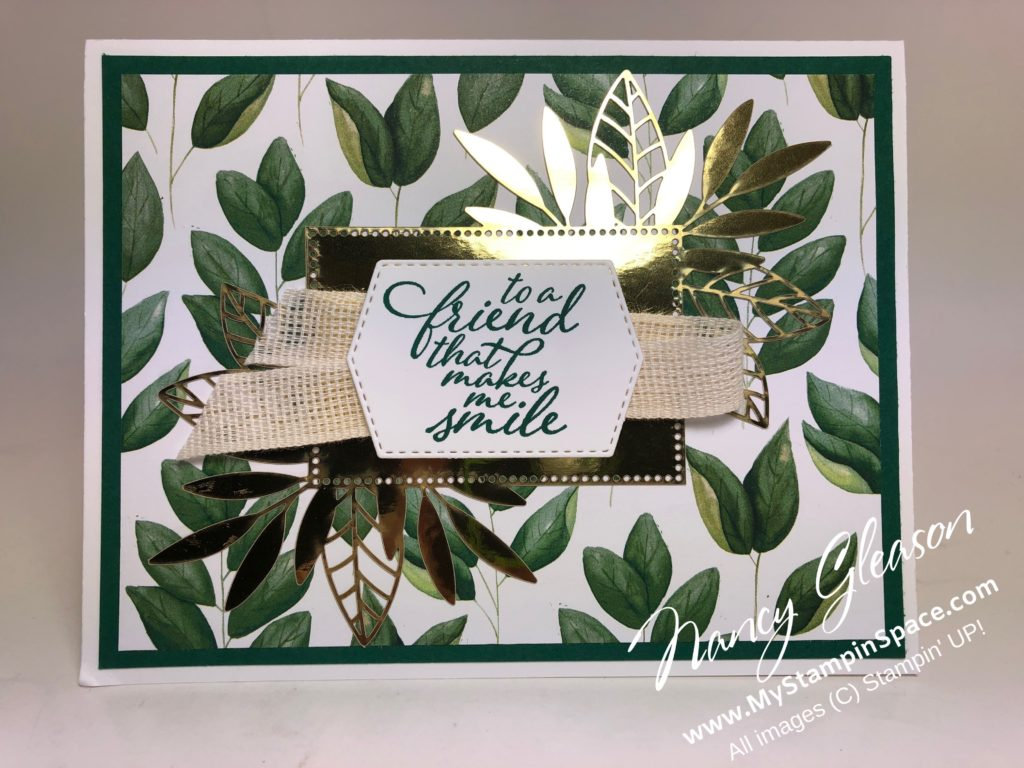 Forever Greenery and Gold Laser-Cut Specialty DSP by Nancy Gleason of My Stampin Space